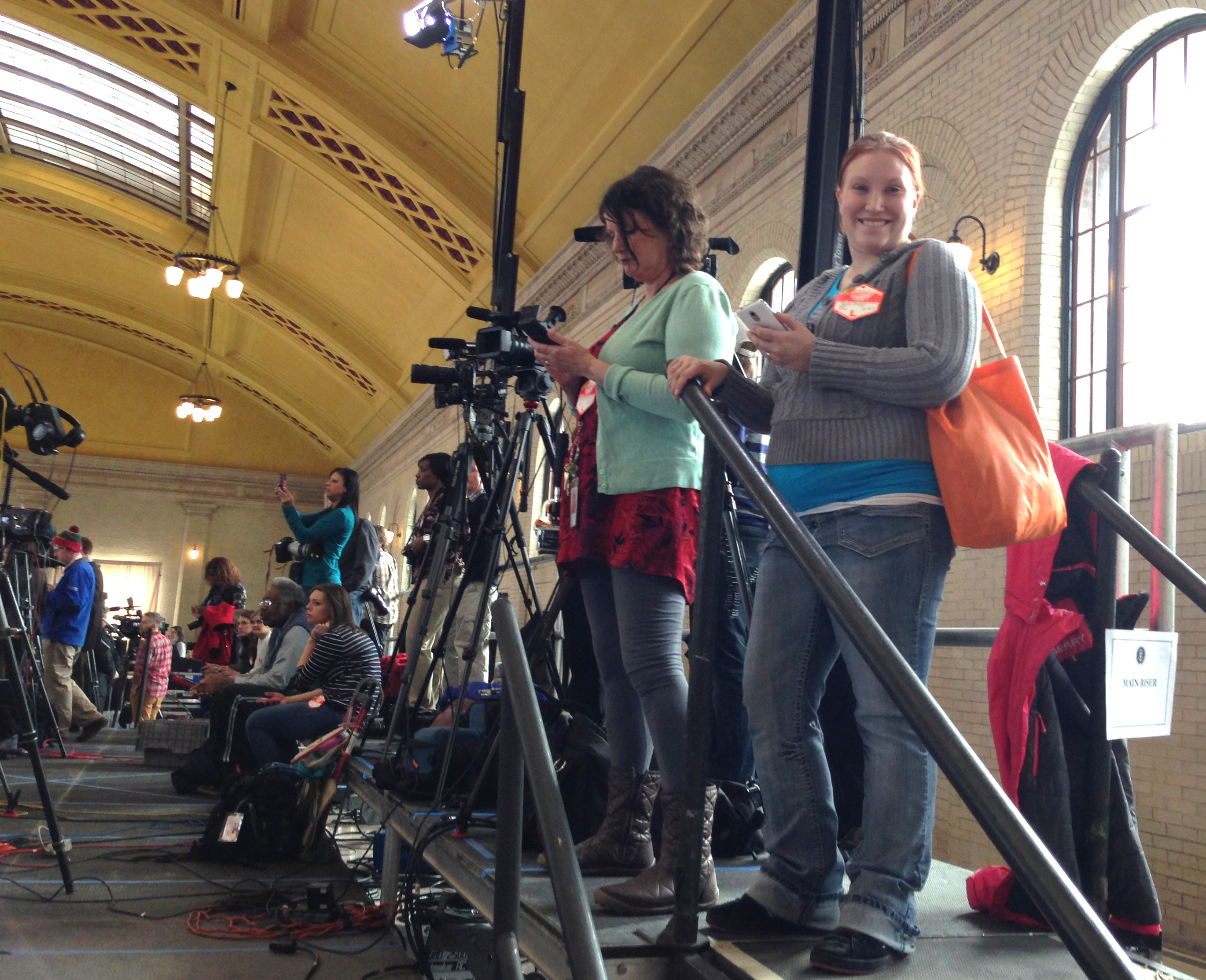ARCC student Mara Meyer prepares to cover President Barack Obama's Feb. 26 press conference at Union Depot in St. Paul. COURTESY MARA K. MEYER