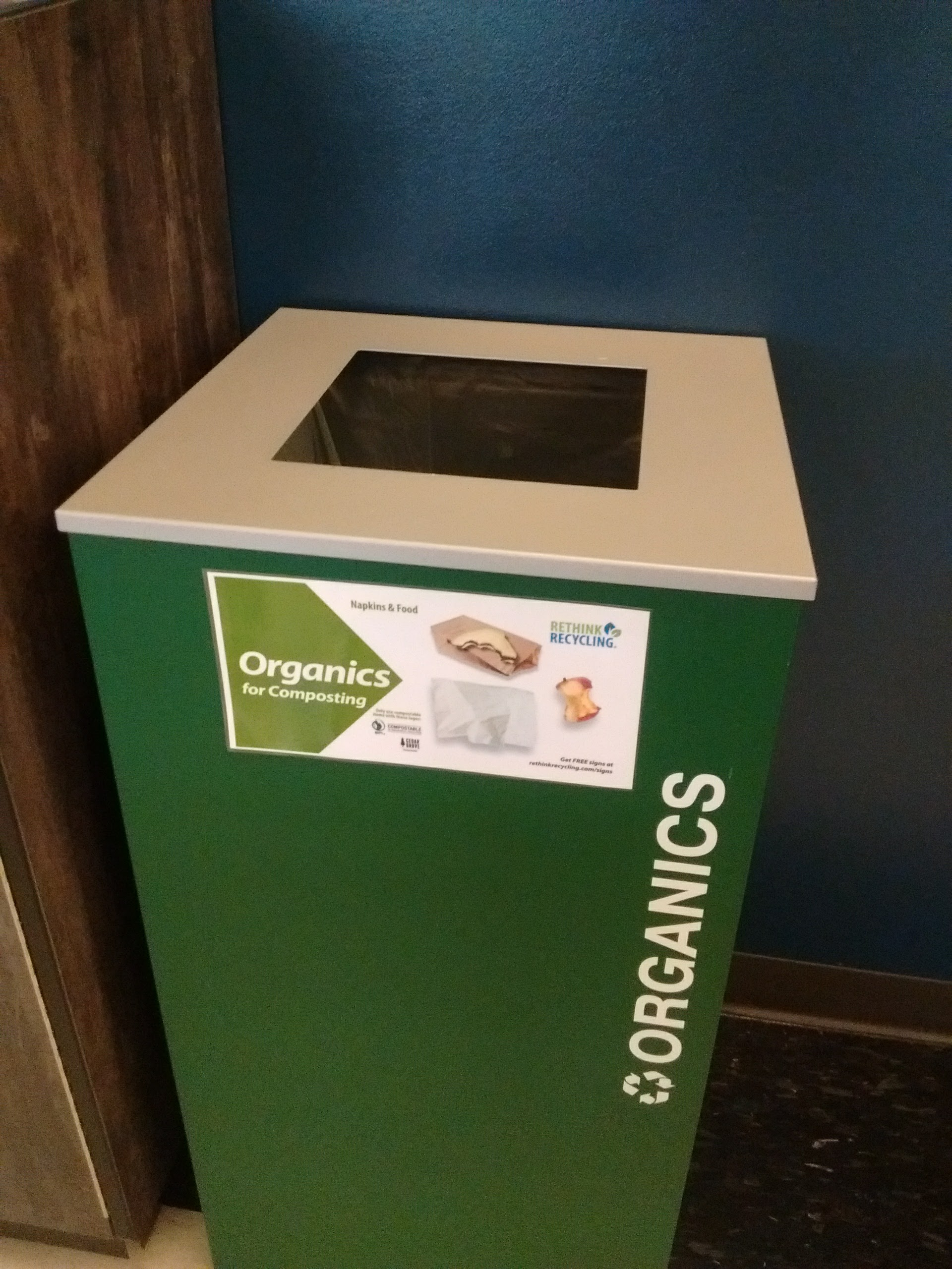Bins such as the one pictured have popped up on campus for organic recycling (Photo Credit: Luke Gentle).