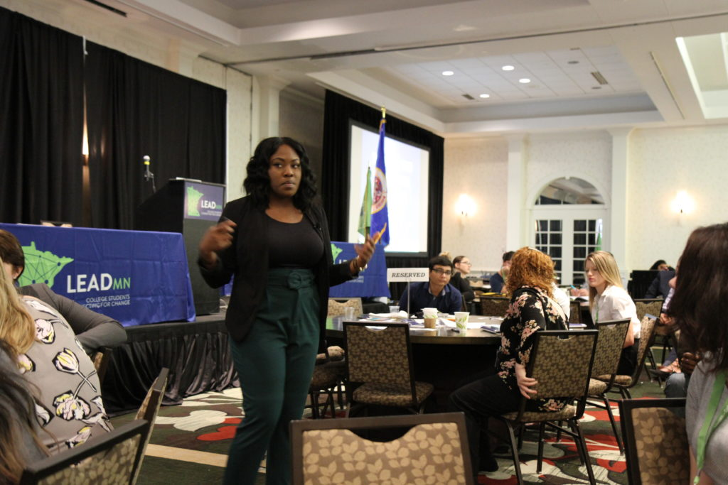 Natilie Williams speaking to student leaders at the LeadMN conference on Oct. 20 in Minneapolis. PHOTO BY David Letellier