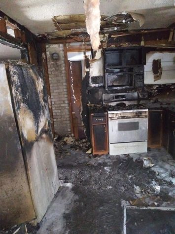 Josh Melendez's kitchen after the fire. Photo courtesy of Josh Melendez