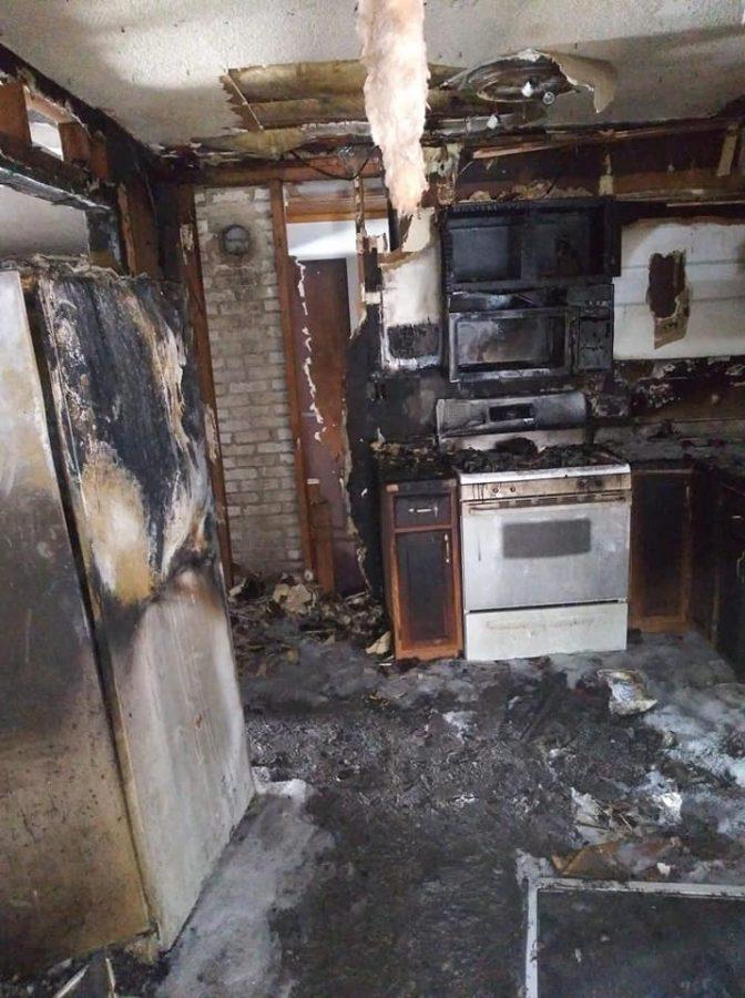Josh Melendez's kitchen after the fire. Photo courtesy of Josh Melendez