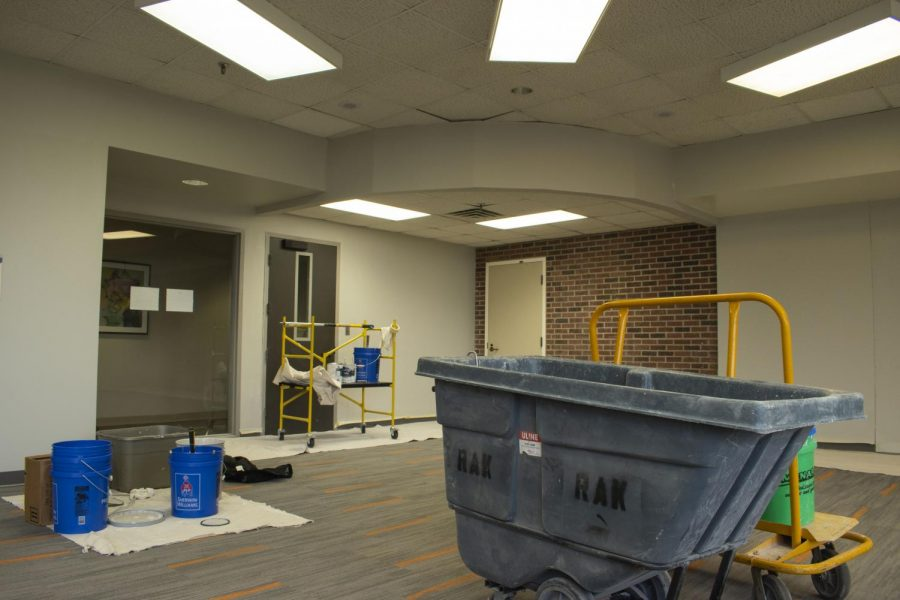 A portion of the Riverside Lounge is under construction to house the library during renovations over the next semester.