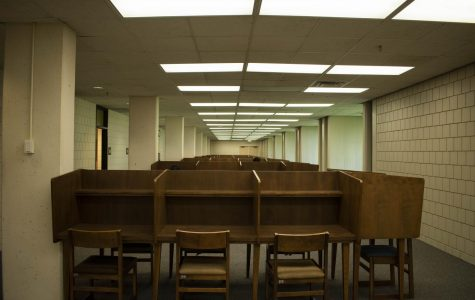 Desks replaced the bookshelves they put down in the storage area. This is where students can study during the renovation of the library.