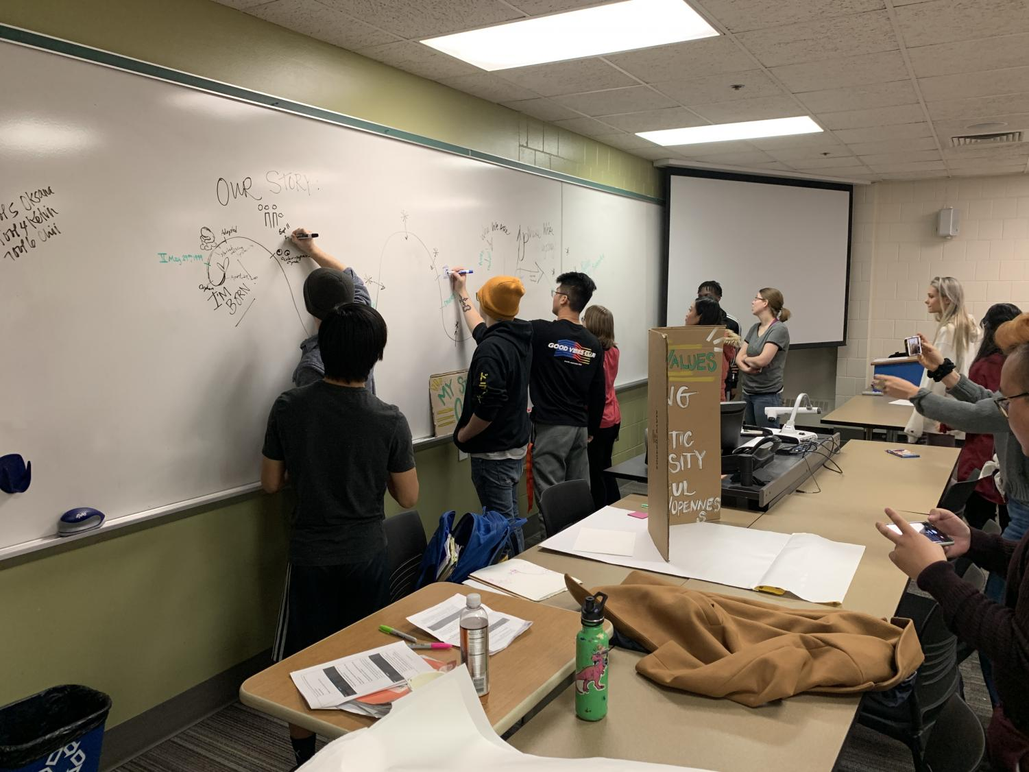 Students sharing their life experiences with one another during McLain's workshop on Nov. 7 at Anoka-Ramsey Community College.