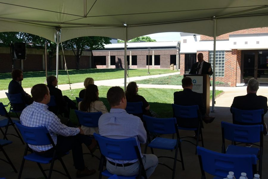 Kent Hansen speaking at the Business and Nursing groundbreaking on May 26.