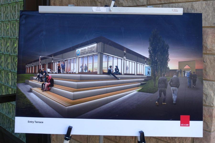 An artist rendition of the future Entry Terrace area that will be in the Business and Nursing building.
