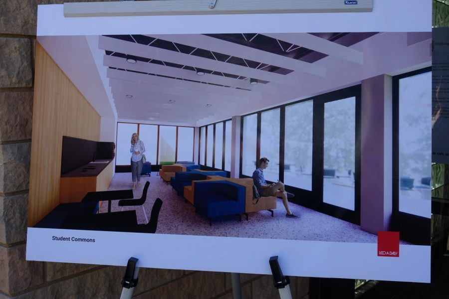 An artist rendition of the future Student Commons area that will be in the Business and Nursing building.